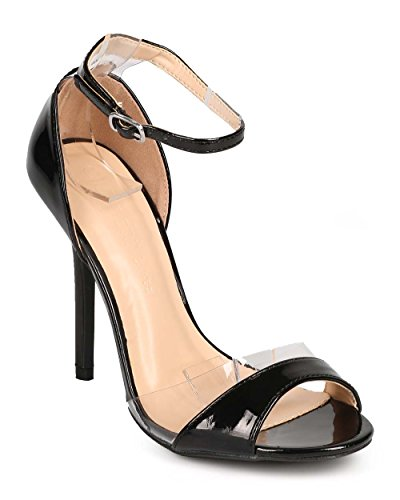 Peep Single Sole Lucite Black Sandal Stiletto Toe Women Diva DG51 Wild Patent xIgZZq