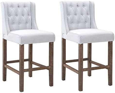 Admirable Homcom 40 Tufted Wingback Counter Height Armless Bar Stool Dining Chair Set Of 2 Cream White Machost Co Dining Chair Design Ideas Machostcouk