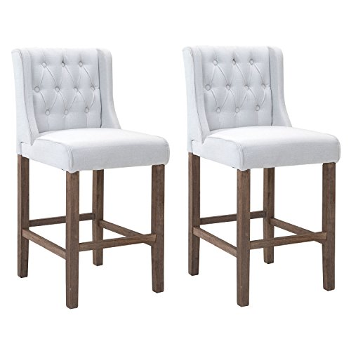 HOMCOM Bar Height Wingback Dining Chairs with Buttons - Cream White - Set of 2
