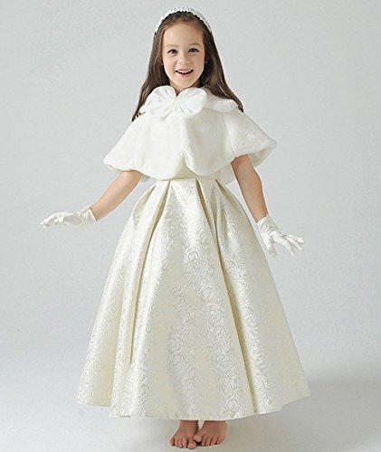 Fankeshi Ivory Flower Girl Faux Fur Shawl Wraps Cape Kids Wedding Communion S by Fankeshi (Image #3)