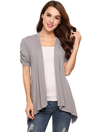 Zeagoo Women's Basic Ruched Short Sleeves Casual Open Front Cardigan (Grey,XL)