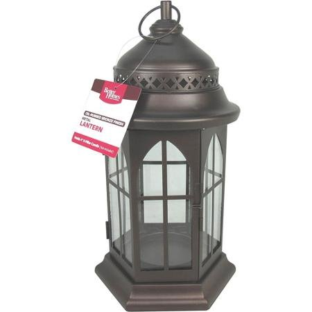 Better Homes and Gardens Metal Lantern, Oil-Rubbed Bronze (Garden Lanterns For Candles)