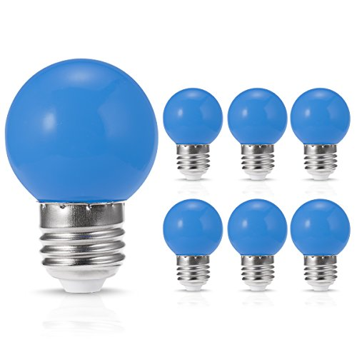 JandCase LED Globe Blue Light Bulbs, 1W, Opaque, Tiny G14 Bulbs for Christmas Tree Ornament, Halloween Blowup Lantern, Medium Base, 6 Pack