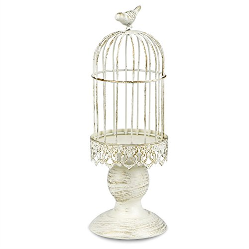 Metal Birdcage Candle Holder Vintage Candlestick Decoration Candle Stick Holder for Wedding Centerpieces Birthday Party Christmas Valentine's Day Restaurant Dining Table Home Decoratio(Birdcage-White)