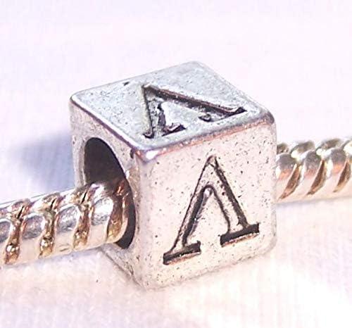 Lambda Symbol Uppercase Greek Letter Numeral Cube Charm for Euro Bead Bracelets