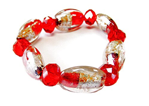 Linpeng Oval Red and Clear Lampwork Glass Beads & Crystal Beads Stretch Bracelet_BR-1297