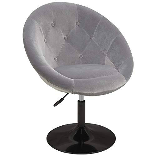 Duhome Velvet Accent Chairs, Lounge Chair Adjustable Modern Round Tufted Back Swivel Make-up Vanity Chair Light Grey (Tufted Chair Vanity)