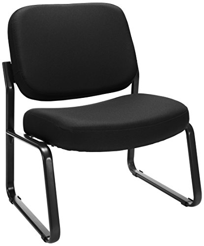 (OFM Big and Tall Upholstered Armless Guest / Reception Chair, Black)