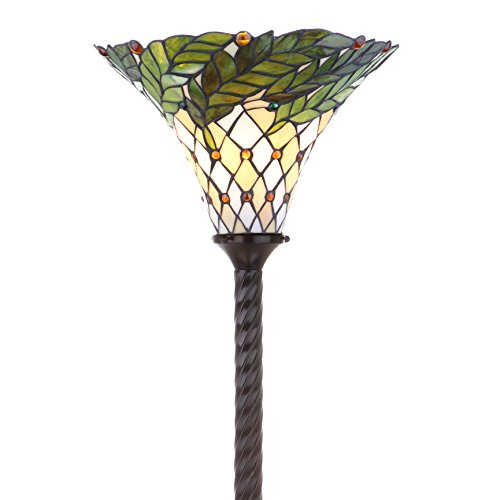 (JONATHAN Y JYL8004A Botanical Tiffany-Style Torchiere Floor Lamp, Bronze)