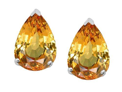 Tommaso Design 8x6mm Pear Shape Genuine Citrine Earrings Studs (Pear Shape Citrine Earrings)