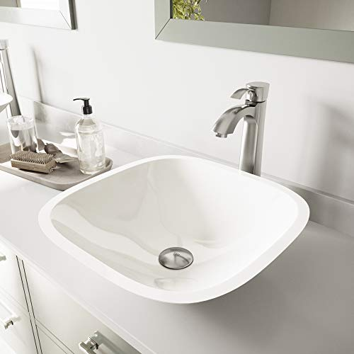 VIGO Square Shaped White Phoenix Stone Vessel Sink and Otis Vessel Faucet with Pop Up, Brushed Nickel