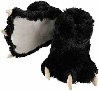 LazyOne Animal Paw Slippers by Fuzzy Slippers With Claws Bear (Medium, Black Bear)