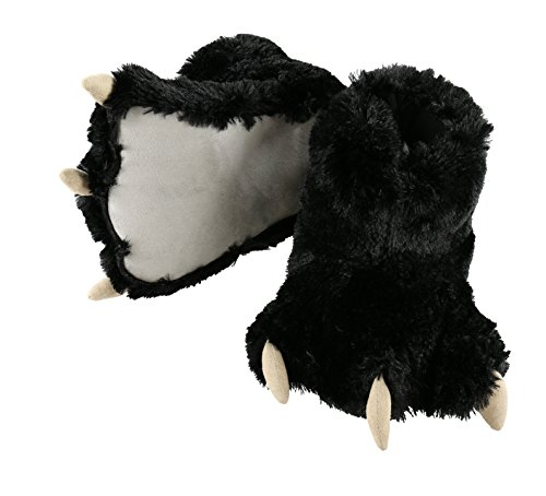 Lazy One Fuzzy Black Bear Kid's Small Animal Paw Slippers With Claws (Fuzzy Bear Claw Slippers)