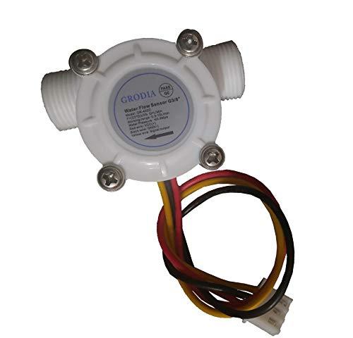 "GRODIA 3/8"" Water Flow Sensor Food-Grade Switch Hall Effect Flowmeter Fluid Meter Counter 0.3-10L/min"