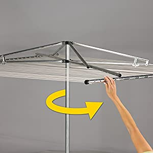 Household Essentials 17130-1 Rotary Outdoor Umbrella Drying Rack   Aluminum   30-Lines with 210 ft. Clothesline