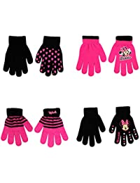 Disney Assorted Character Designs 4 Pair Gloves or Mittens Cold Weather Set, Little Girls, Age 2-7 (Minnie Mouse - 4 Pair Gloves Design Set)