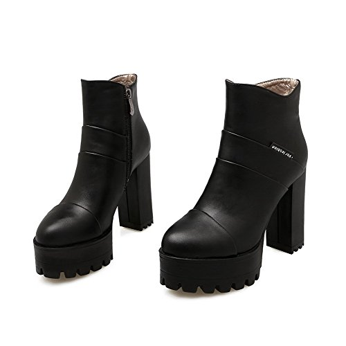 Zipper High Boots Black Heels Women's Toe Round Solid Allhqfashion Closed 50q7Cw4xx