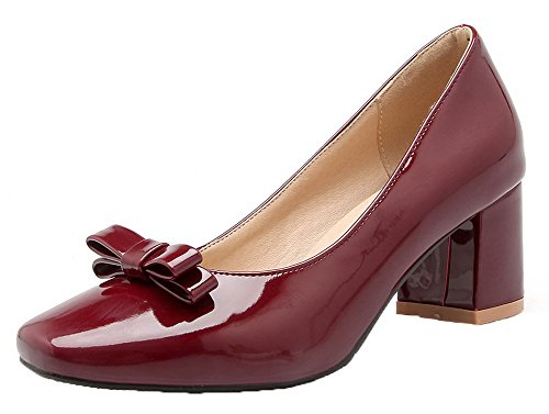 Red Shoes Womens Toe Kitten AmoonyFashion Patent Closed Pumps Square Solid Heels Leather P8Hqv4H