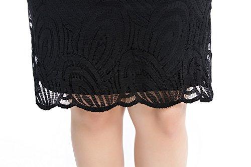Chicwe luxe dentelle Robe Femme Grande Taille Bordée de 3/4 Manches EU46-60