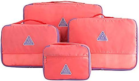 トラベルポーチ 旅行用ラージパッキングキューブ - 荷物用品オーガナイザー4セット (Color : Red)