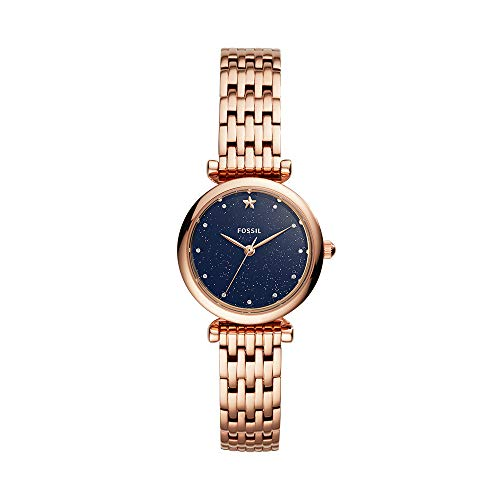 Fossil Women's Mini Carlie Stainless Steel Quartz Watch with Strap, Rose Gold, 12 (Model: ES4522)
