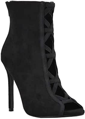 Women's Peep Toe Elastic Cross-Band Cut-Out Bootie Stiletto High Heel Ankle Boots