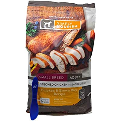 SIMPLY NOURISH Small Breed Adult Dry Dog Food - Chicken & Brown Rice, 15 Pounds and Especiales Cosas Mixing Spatula