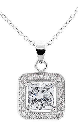 (Jade Marie Enchanting Silver Halo Princess Cut Cubic Zirconia Pendant Necklace, 18k White Gold Square Halo with CZ Crystals, Hypoallergenic Sparkling Pendant Necklaces for Women, Bridesmaid)