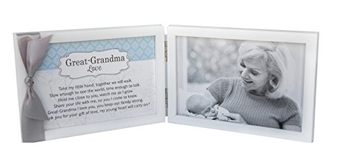 Great-Grandma Love Poem White Double Hinged 4 x 6 Photo Frame with Ribbon by The Grandparent Gift Co.