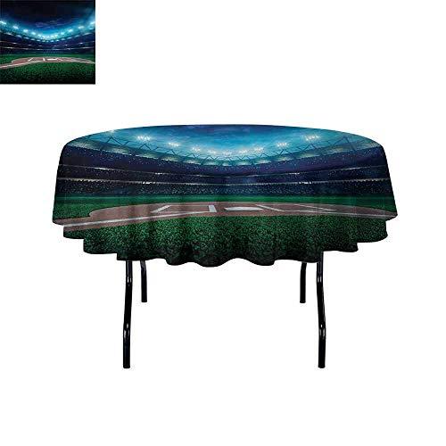 GloriaJohnson Baseball+3D+Printed+Round+Tablecloth+Professional+Baseball+Field+at+Night+Vibrant+Playground+Stadium+League+Theme+Print+Desktop+Protection+pad+D59+Inch+Green+Blue+