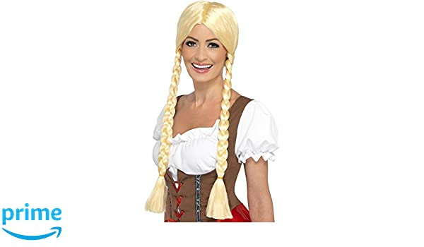 Smiffys Peluca de belleza bávara, rubia, con trenzas: Amazon.es: Juguetes y juegos