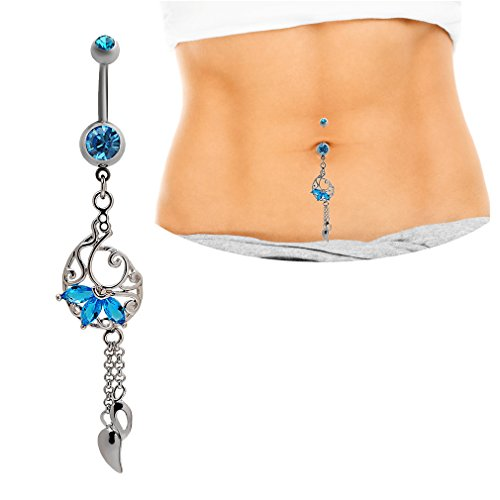 (Mutreso Belly Button Navel Ring Surgical Steel Tassel Dangle Belly Ring Curved Barbell Sapphire Crystal Body Piercing Jewelry)