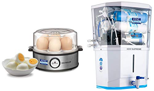 Kent Instant Egg Boiler 360-Watt (Transparent and Silver Grey) & KENT Supreme 2020 (11111), Wall Mountable, RO + UF + TDS Control + UV in Tank, 8 L Tank, White, 20 LPH Water Purifier