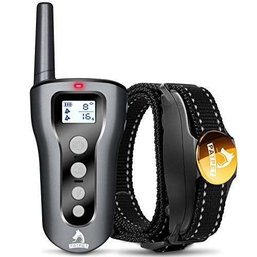 Patpet Dog Training Collar with Remote, 100% Waterproof Rechargeable Shock Collar for Dogs, 1500ft Remote Range, Beep/Vibration/Shock Modes, Protection Function Blind Operation Design for All Size Dog