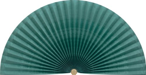 Neat Pleats Decorative Fan, Hearth Screen, or Overdoor Wall Hanging - Rippled & Banded Striped Moire in Dark Teal Sea Green - LARGE by Neat Pleats