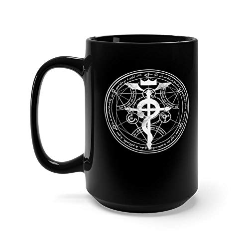 FMA - Full Metal Alchemist Mug 15 oz Black Ceramic Unique Design Coffee Tea Mug Funny Gift For Men Women (Mustang 15 Ounce Mug)