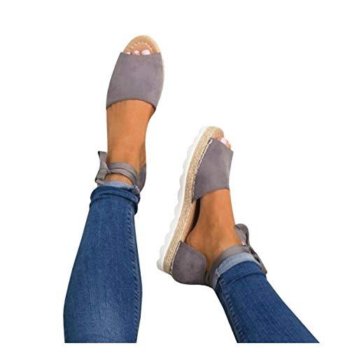 Fashare Womens Espadrilles Tie up Flat Sandals Peep Toe Classic Espadrille Shoes (8 B(M) US, Grey)