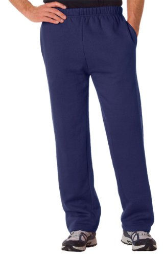 - Badger Adult Blended Open-Bottom Fleece Pants (Navy) (Medium)