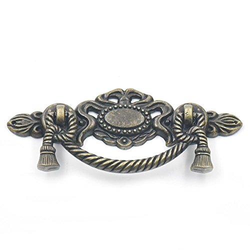 "Blumoona 5 Pcs - Antique Brass Jewelry Box Drawer Cabinet Cupboard Door Wine Handle Pull Knob W Screws 116mm(4.56"")x45mm(1.77"") from Bluemoona"