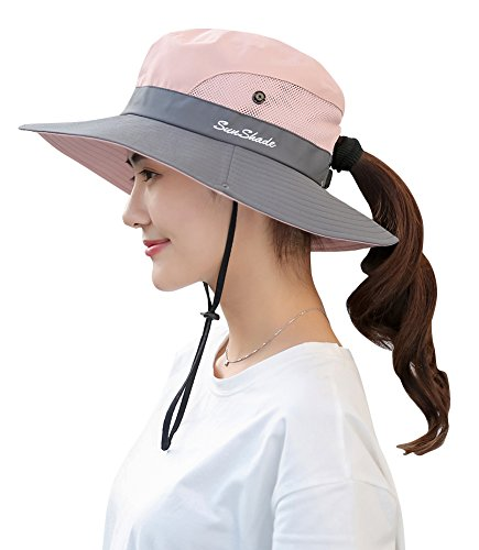 8d2fc136225 BogiWell Women s Outdoor UV Protection Foldable Mesh Wide Brim Beach  Fishing Hat Pink