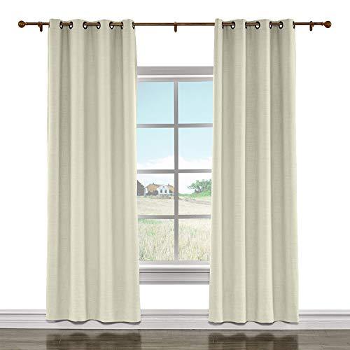 cololeaf Indoor Linen Textured Room Darkening Curtains for Bedroom Blackout Drapes for Living Room Bedroom Family Room Dining Romm Kidroom Library,Sand Beige 100W x 108L Inch (1 Panel)