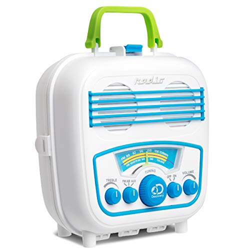 Discovery Kids Water Resistant Smartphone Speaker with Portable Radio and Phone Storage, AM and FM Radio Modes with Tuning, AUX Connection and Cord, Volume and Treble Control, Retro Design