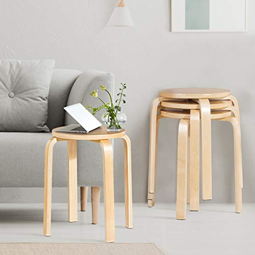 Stackable wood stools