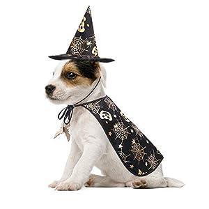POPETPOP Pet Halloween Costumes Cape with Wizard Hat Dog Cat Halloween Apparels