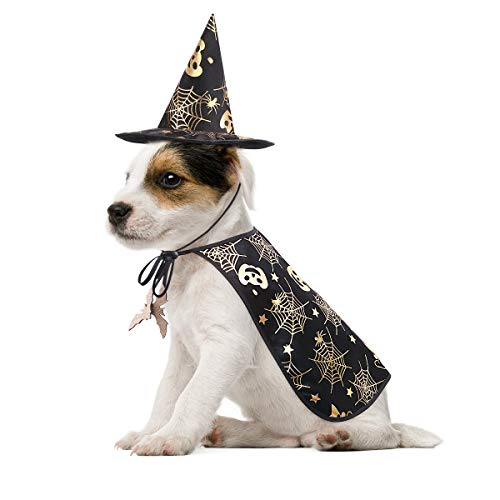 POPETPOP Pet Halloween Costumes Cape with Wizard Hat Dog Cat Halloween Apparels