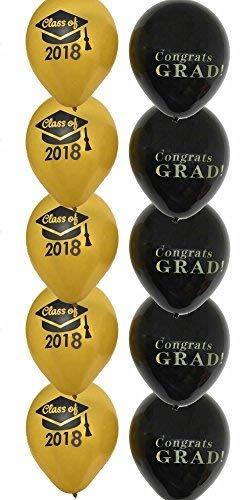 Congrats GRAD Black Gold Class of 2018 Balloons 12 Inch- Graduation Balloon Party Latex Balloon Decor, Set of -