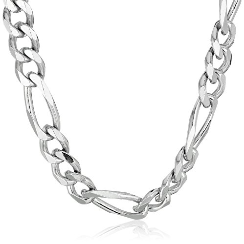 18 Inch Italian - Men's Sterling Silver Italian 6.80mm Solid Figaro Link-Chain Necklace, 18