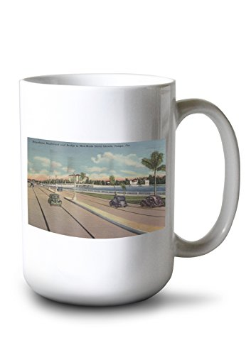 Lantern Press Tampa, FL - View of Bayshore BLVD, Bridge, Davis is. (15oz White Ceramic - Lantern Wall Bayshore