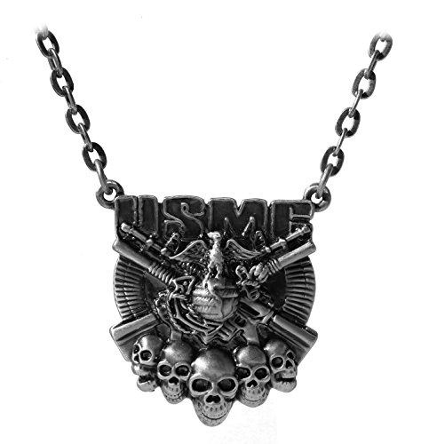 Lead Free Pewter Pendant (Masada Jewelry, USMC Logo with Skulls and Guns Pewter Pendant Necklace, Lead Free Alloy)