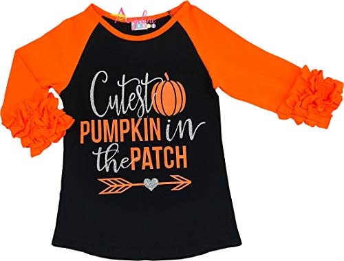 Angeline Boutique Clothing Halloween Cutest Pumpkin in The Patch Raglan T-Shirt 2T/S ()